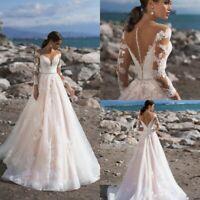 Beach Wedding Dresses Bridal Gowns Pink Appliques Plus Size 4 6 8 10 12 14 16 18