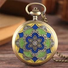 Retro Rhinestones Women Quartz Pocket Watch Necklace Pendant Chain Gifts