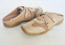 Maggie Sweet Shoes Slides Beige New Womens Genuine Leather & Fabric Sz 8 1/2 M