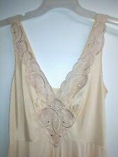New listing Vtg Olga Long Full Sweep Nightgown Sz L Sheer Embroidered Nylon Spandex Peach