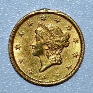 1853 $1 GOLD DOLLAR ✪ UNCIRCULATED DETAILS ✪ G$1 UNC BU DAMAGED COIN ◢TRUSTED◣