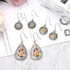 3Pairs/Lot Bohemian Boho Colorful Resin Bead Waterdrop Dangle Women Earrings