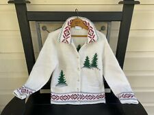 Liz Claiborne Medium Petite Christmas Tree Lambswool Angora Cardigan Sweater