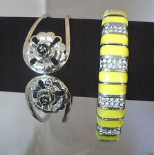 Lot of 2 bracelet stretch yellow enamel & RS & silver cuff with flower design