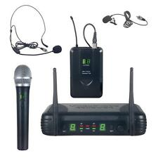Pyle PDWM3378 UHF Wireless Microphone System Kit, Handheld/Headset/Lavalier Mic