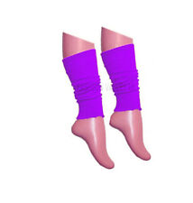 Girls Teen 80's Dance Plain Ribbed Leg Warmers Women Legwarmer Fancy Dress Tutu Purple
