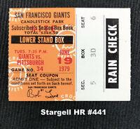 Willie Stargell HR #441 Ticket Stub Pittsburgh Pirates vs SF Giants June 19 1979