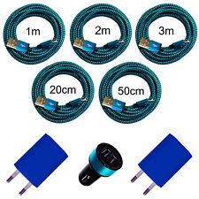 20cm 50cm 1m 2m 3m Micro USB Ladekabel 2x Ladegerät Netzteil KFZ Adapter blau
