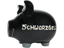 KCG Sparschwein Groß XL SCHWARZGELD, Spardose schwarz, Mittelschwein 18 cm lang
