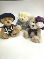Lot of 3 Boyds Collection Bears Jointed Country Vintage Hats Crochet Bows Plush