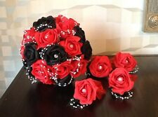 WEDDING FLOWERS/ BRIDES RED/BLACK ROSE IVORY PEARL/DIAMANTE BOUQUETS/BUTTONHOLES