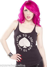 130142 Born to Lose Tank Top Gray Sourpuss Grommet Straps Biker Punk Small S