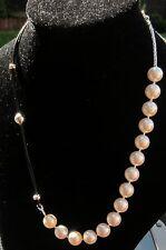 Real LEATHER Collana con Perle 925 Fibbia Argento realizzati con elementi swarovski