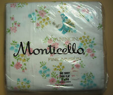 TWIN FLAT SHEET - Pink Blue Yellow Flowers - Cannon Monticello - 100% Cotton NIP