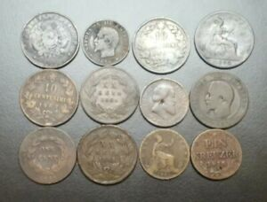 LOT OF 12 World Foreign Old Copper Coins 1800's BRITAIN FRANCE ITALY ARGENTINA