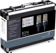 AKG C214/ST matched stereo pair studio condenser mics C 214ST Sealed Box