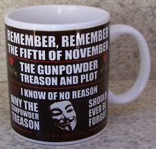 Coffee Mug Novelty Vendetta Guy Fawkes Gunpowder NEW 11 ounce cup with gift box