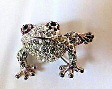 Vintage Leaping Frog Rhinestone Brooch Pin Red Inlaid Rhinestone Outlined Eyes