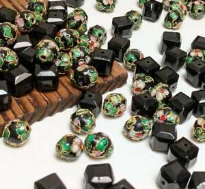 Cloisonne Beads Lot Mix Blue Black Shape Beads for Bracelet Making 100+ pcs