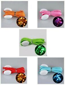 LED Shoe Laces Fabric Party Festivals Fancy Dress Single Colour 3 modes Flashing