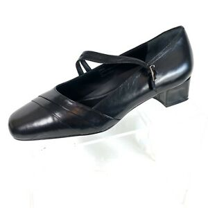 Drew Women's Mary Jane Pumps Black Leather Size 8 WW