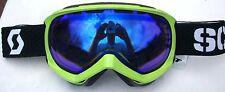 $110 Scott Mens Reply Neon Green Ski Goggles Snow Smith Winter Blue Mirror Lens