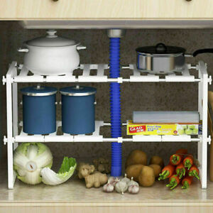 Adjustable Under Sink 2 Tier Under Sink Shelf Storage Rack Holder Kitchen Dishes