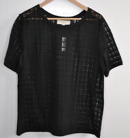 Ann Taylor LOFT Size XL windowpane sheer top Short Sleeve Black Layer Blouse New