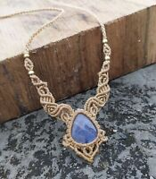 Blue Labradorite Macrame Necklace Pendant Jewelry Cabo Stone Handmade Bohemian