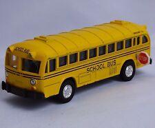 Vtg Yellow School Bus Diecast Car Model Pull Back Action Moveable Door Stop 5""