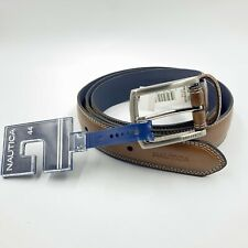 Genuine Nautica Men's Cognac Brown Leather Belt Size 44 Authentic NEW WITH TAGS
