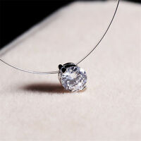 Women Necklace Invisible Chain Choker Jewelry Pendant Crystal Rhinestone Charm