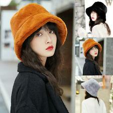 Women Winter Fluffy Plush Bucket Hat Ladies Solid Warm Faux Fur Fisherman Cap