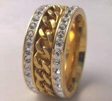 G-Filled 18ct yellow gold simulated diamond curb link Men's ring 10mm band US 11