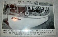 Vintage Aspasia & Plastiras Deep Sea Fishing Boats Florida Postcard