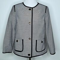 Talbots Striped Blazer Size 12 Womens Career White Black Lined Gold Trim Buttons