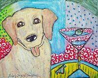 ACEO Labrador Retriever Art Print, Yellow Lab Gifts 2.5 x 3. 5 Martini Break