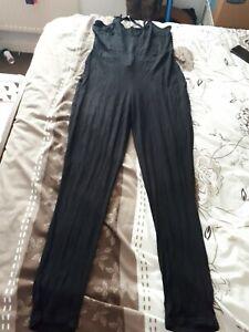 Pertty Little Thing Bkack Cross Back Jersey Jumpsuit Size 12 BNWT