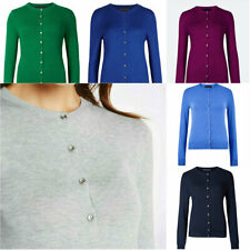 Womens M&S Marks & Spencer Round Neck Fine Knit Button Cardigan Various Colours