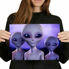 A4 - Funky Grey Aliens Space Sci-Fi Poster 29.7X21cm280gsm #8214