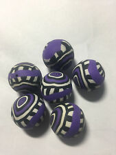 Purple Black White Paisley Fimo Clay Eye Beads 20mm 6pc