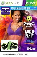 ZUMBA WORLD PARTY FITNESS WORKOUT XBOX 360 Video Game +BELT ACCESSORY Sealed