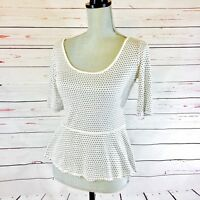 Max Edition White & Black Polka Dots 3/4 Sleeve Top Blouse Size SMALL