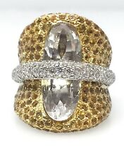 Wide Pave Yellow Sapphire, White Topaz & Diamond Ring in 18k White Gold - HM1363