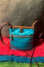 Michael Kors Aqua Blue Nylon Brown Leather Trim Zip Shoulder Bag Crossbody