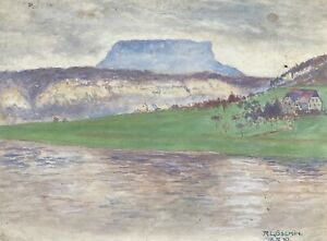 Reinhard Löschin River Landscape With Houses And Table Mountain IN Distance
