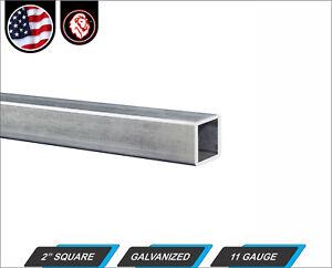 "2"" Galvanized Square Steel Tube - 11 gauge - 96"" inch long (8-ft)"