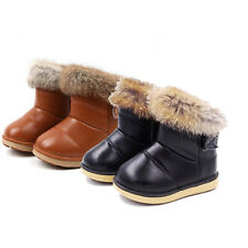 Toddler Boys Girls Winter Rabbit Fur Snow Boots Fur Lined Warm Shoes Soft Soles