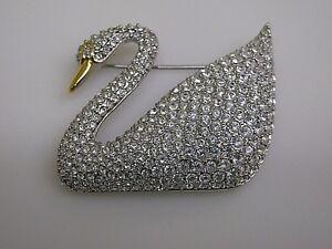 Swarovski Crystal  Pave Swan Brooch Pin