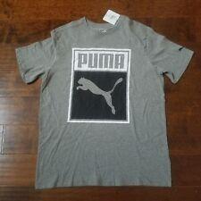 Puma Gray/Black Short Sleeve Box Logo T-Shirt Men's Size Large NWT A5-03